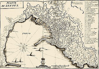 Relief of Genoa - Map of Genoa printed by Francesco Maria Accinelli, 18th century.