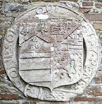 George Monck, 1st Duke of Albemarle - Heraldic escutcheon of General George Monck, 1st Duke of Albemarle (1608–1670) on external wall above the private doorway to north transept of parish church of St Giles-in-the-Wood, Devon