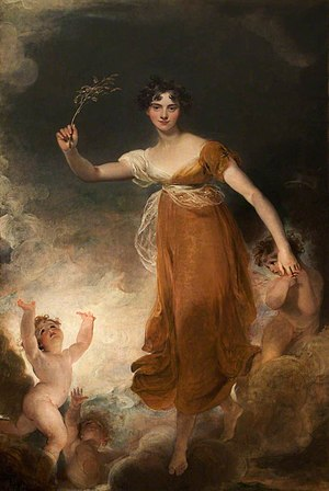 "John Leicester, 1st Baron de Tabley - Georgiana, Lady Leicester, (later Lady De Tabley), portrait as ""Hope""/The Branch by Sir Thomas Lawrence."