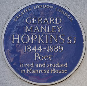 Gerard Manley Hopkins - Blue plaque commemorating Hopkins in Roehampton, London