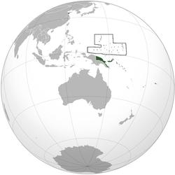 Geografisk placering af Tysk Ny Guinea