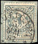 Germany Stuttgart 1886 local stamp 3pf - 3 used on fragment.jpg