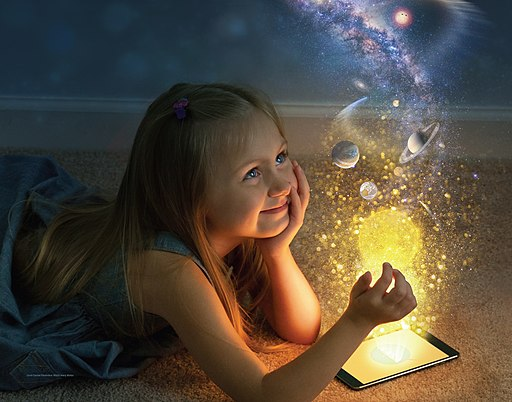 Girl with outer space imagination from NASA