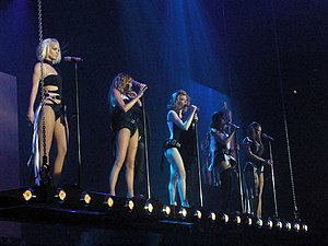 Out of Control Tour - (L-R) Sarah Harding, Nadine Coyle, Nicola Roberts, Cheryl Cole, and Kimberley Walsh.