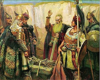 Kubrat - Imaginative depiction of Kubrat by Dimitar Gyudjenov (1926)