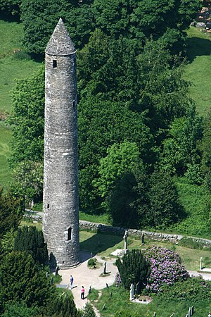 Irish round tower - The round tower at Glendalough, Ireland, is approximately thirty metres tall