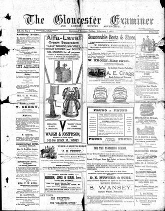 Port Stephens Examiner - Front page of Gloucester Examiner and Lower Hunter Advertiser, 2 February 1912