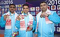 Gold Medallist of India Gagan Narang, Chain Singh and Surendra Singh Rathod in the 50m Air Rifle 3 Men's Team event in Shooting, at the 12th South Asian Games-2016, in Guwahati on February 14, 2016.jpg