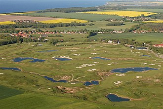 Golf course - Aerial view of a golf course (Golfplatz Wittenbeck at the Baltic Sea, Germany)