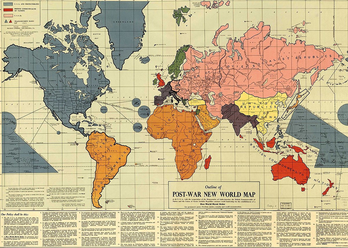 Outline of the post war new world map wikipedia gumiabroncs Choice Image