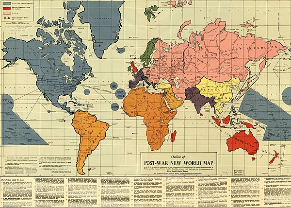 Outline of the Post-War New World Map. Published 1942, Philadelphia, PA