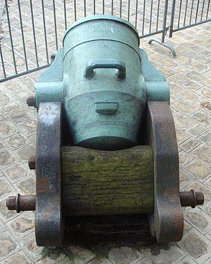 Mortier de 12 Gribeauval - A 12-inch Gomer mortar with conical chamber, cast by Bouquero, An 2 de la République (1793-1794).