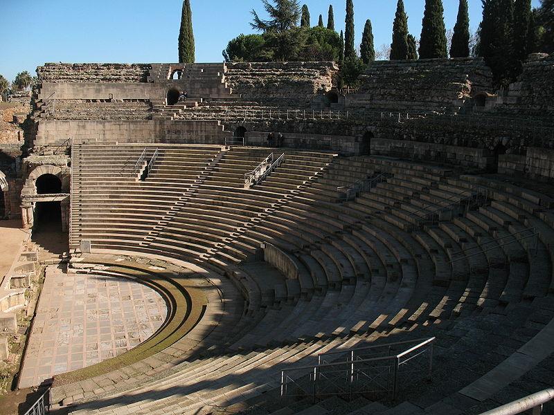 Teatro Romano de Mérida, detalle de las caveas