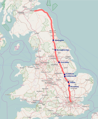 Great North Road (Great Britain) - Line of the Great North Road from London to Edinburgh