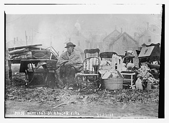 Homelessness in the United States - Great Fire of 1911 with homeless man