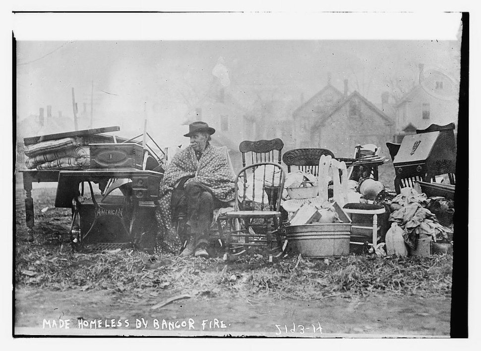 Great Fire of 1911 with homeless man