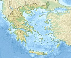 A map showing the location of Mount Pentelicus in Greece.