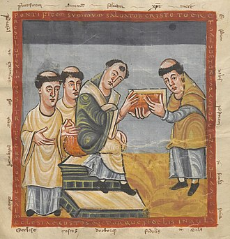 Pope Gregory IV - Pope Gregory IV (in the middle) receives a book from Rabanus Maurus (on the right)