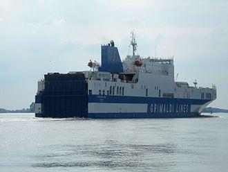 Grimaldi Group - Grimaldi Lines ferry Eurocargo Bari on the river Elbe