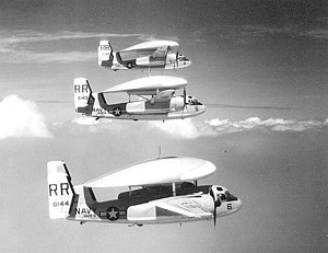 Grumman E-1B Tracers of VAW-11 in flight, circa in the 1960s.jpg