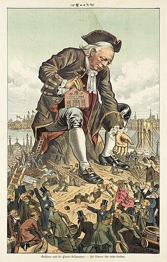Bernhard Gillam - Image: Gulliver und die Partei Liliputaner 1885 (Henry Ward Beecher)