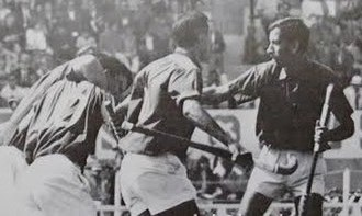 Gulraiz Akhtar - Gulraiz Akhtar at extreme right, after a Goal in 1968 Olympics