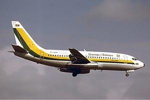 Guyana Airways - Boeing 737-200 of Guyana Airways at Miami International Airport, Miami, Florida in 1980.