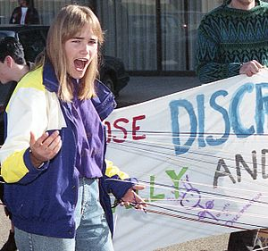 Topfreedom in Canada - Gwen Jacob - topfree rights activist - outside court in Guelph, 1991