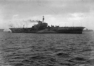 HMS Indefatigable (R10) - Profile view of Indefatigable at anchor