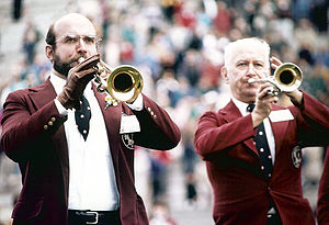 Harvard University Band - Tom McGrath '76 and his father Joe McGrath '44 at the Harvard Band's 75th reunion
