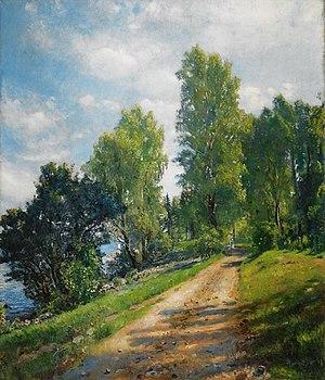 Åsgårdstrand - Landeveien, Åsgårdstrand  painted by Hans Heyerdahl (1890)