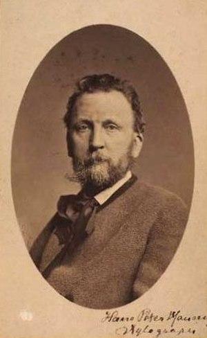Hans Peter Hansen - H.P. Hansen's portrait with his signature. Photo by Peter Most.