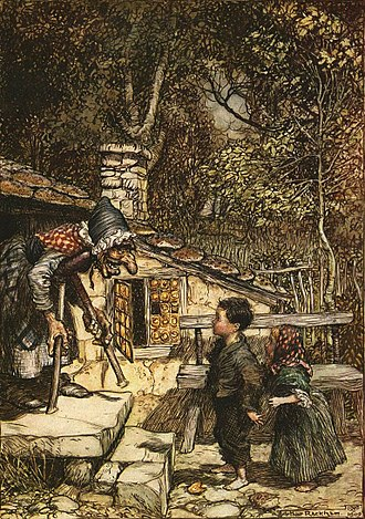 Human cannibalism - Hansel and Gretel, illustrated by Arthur Rackham.