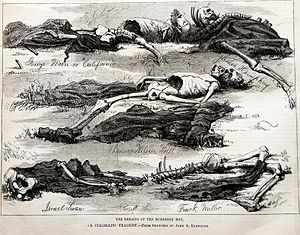 "Lake City, Colorado - Harper's Weekly, October 17, 1874 issue.  Illustration by John A. Randolph of the scene of ""A Colorado Tragedy"".  Photo taken from an original copy."