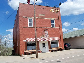 Harrisville, Ohio - The Fireman and Auxiliary Hall on U.S. Route 250