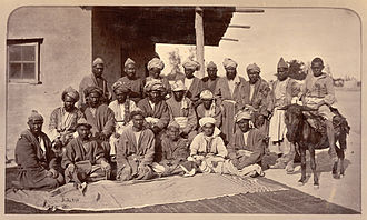 Hazaras - An 1880 photograph by John Burke, during the Second Anglo-Afghan War, which shows Besudi Hazara tribal chiefs somewhere in Afghanistan, possibly in or around Kabul.