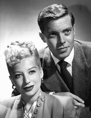 Publicity photo of Forrest and Haymes at the start of Haymes' radio show in 1944. Helen Forrest and Dick Haymes 1944.JPG