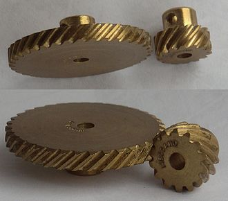Gear - Helical gears Top: parallel configuration Bottom: crossed configuration
