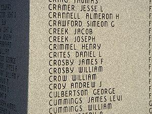 Henry Crimmel - Henry Crimmel's name on Blackford Civil War monument.