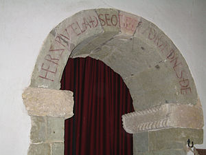 "Old English - ""Her swutelað seo gecwydrædnes ðe"" Old English inscription over the arch of the south porticus in the 10th-century St Mary's parish church, Breamore, Hampshire"