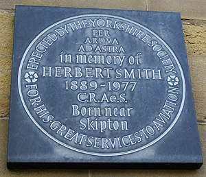 Herbert Smith (aircraft designer) - Commemorative plaque displayed at the town hall in Skipton