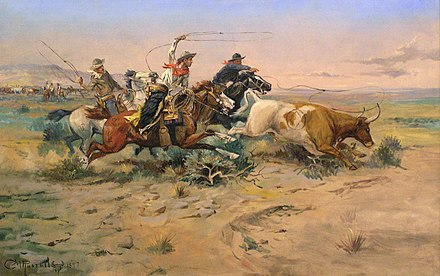 While the West is defined by many occupations , the American cowboy is often used as an icon of the region, here portrayed by C. M. Russell. HerdQuit.jpg