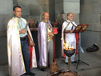 Armenian Native Faith - Arordiner priests officiating a ceremony at the Temple of Garni.