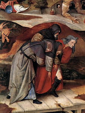 Triptych of the Temptation of St. Anthony - Detail of the left panel showing St Anthony supported by two monks and a lay-man