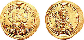 Constantine VIII - Constantine VIII on the reverse of this histamenon coin, with crown, pelleted labarum and akakia.