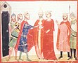 Die Hochzeit Isabellas von Jerusalem mit Friedrich (14. Jahrhundert, Codex Chigi LVIII 296)