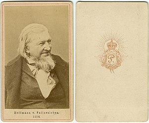 "August Heinrich Hoffmann von Fallersleben - Carte de visite of Hoffmann, card no. ""1324"" by an unidentified photographer with crown over the letter ""P"", about 1860"