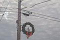 Holiday Wreath on Utility Poles near Cleveland, Wisconsin (32107150816).jpg