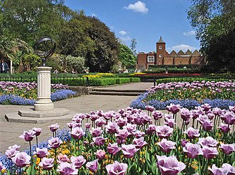 """Holland House - Remains of the west side of Holland House, viewed from the """"Dutch Garden"""", parterre gardens, in 2004"""