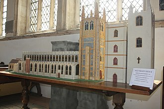 Holy Trinity Church, Long Melford - Scale model of the church, showing the successive changes of appearance of the main tower.